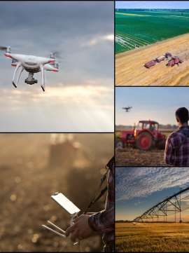 Drone in agricultural production collage
